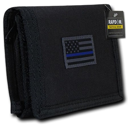 RapDom USA Tonal Black Thin Blue Line American Flag Tactical Tri-Fold Wallet