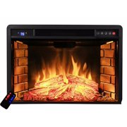 "33"" Electric Fireplace Heater Insert flat Glass Panel with Remote, Black"