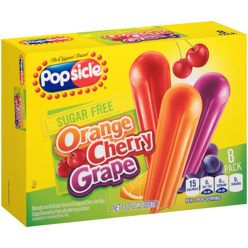 Popsicle Sugar Free Orange, Cherry & Grape Ice Pops, 1.65 oz, 8 ct