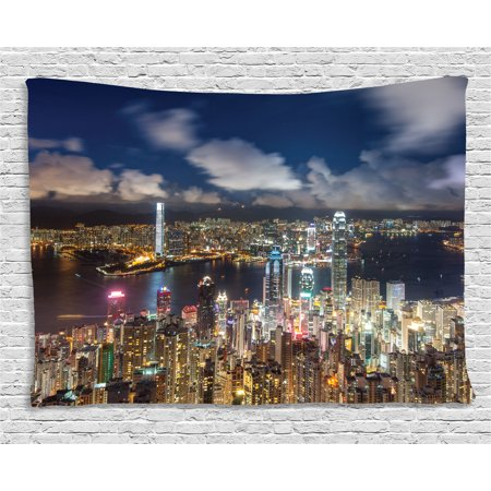 Apartment Decor Tapestry  Night View Hong Kong Victoria Harbor Business Financial District Cityscape  Wall Hanging For Bedroom Living Room Dorm Decor  80W X 60L Inches  Navy White  By Ambesonne