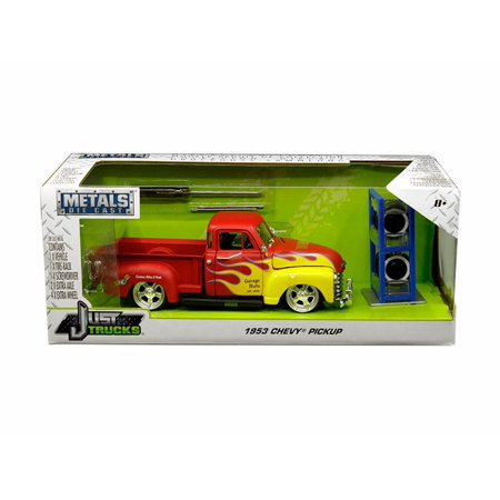 1953 Chevy Pickup, Red with Yellow Flames - Jada 30355-MJ - 1/24 Scale Diecast Model Toy Car