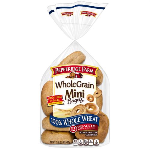 Pepperidge Farm Mini 100% Whole Wheat Bagels, 17 oz. Bag, 12-pack