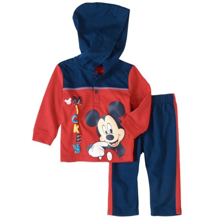 Disney Baby Infant Boys Red/Navy Mickey Mouse Hoodie & Pants Set (Mickey Mouse Infant)