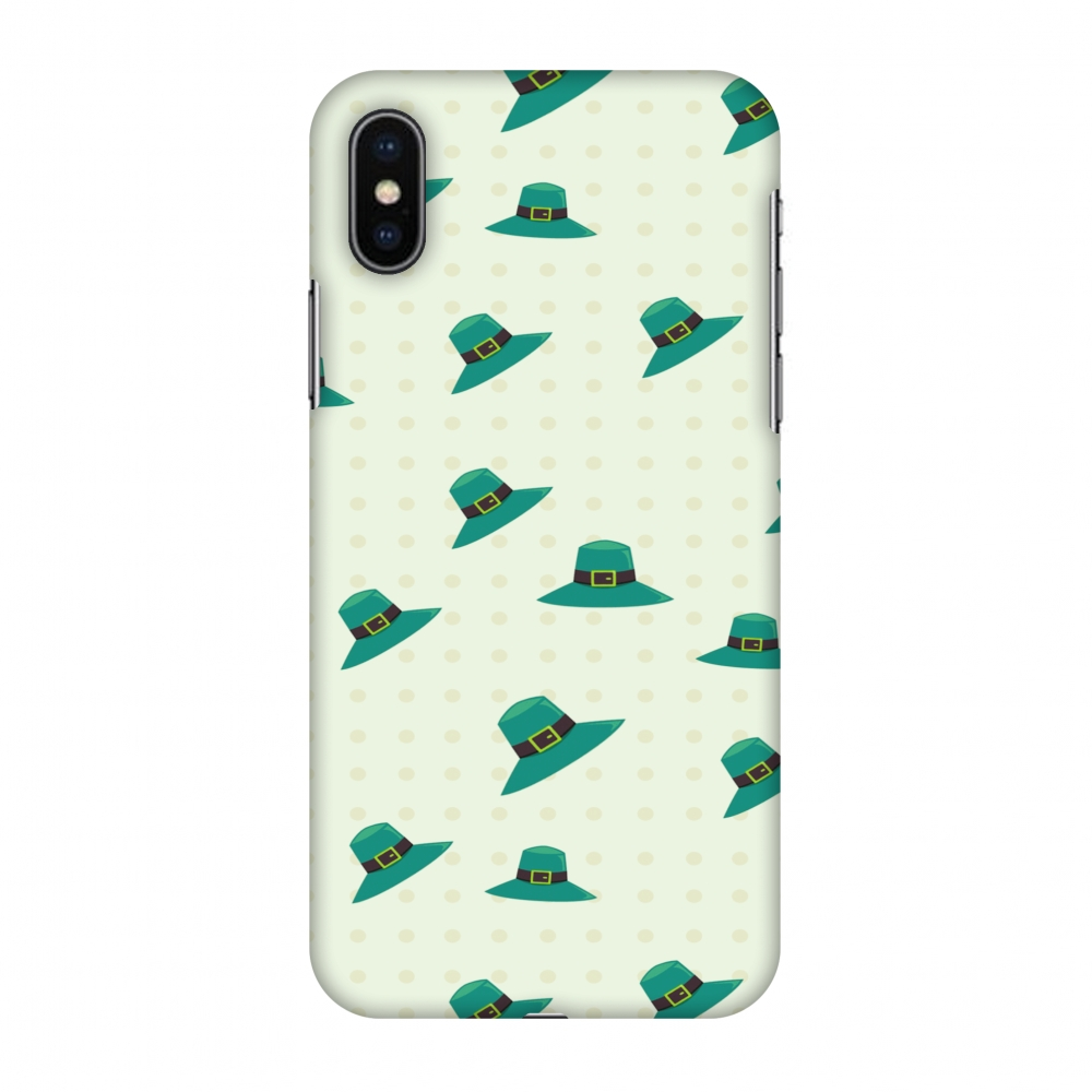 iPhone X Case, Premium Handcrafted Designer Hard Shell Snap On Case Printed Back Cover with Screen Cleaning Kit for iPhone X, Slim, Protective - Irish Hats - Teal