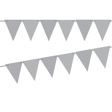 Grey Polka Dot / Grey Solid 10ft Vintage Pennant Banner Paper Triangle Bunting Flags for Weddings, Birthdays, Baby Showers, Events & - Paper Banners