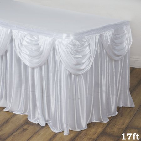Satin Table Skirt (BalsaCircle Satin Drape Banquet Table Skirt - Wedding Party Trade Show Booth Events Linens Decorations )