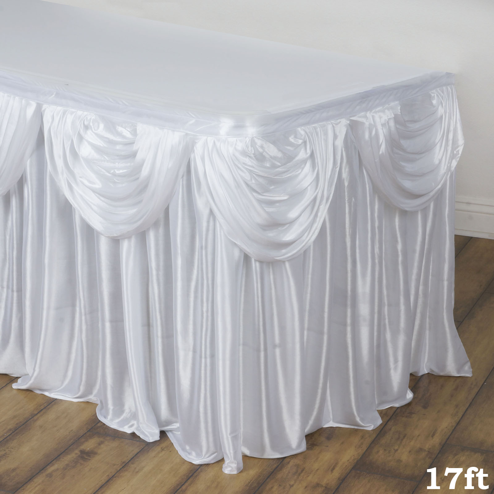 BalsaCircle Satin Drape Banquet Table Skirt - Wedding Party Trade Show Booth Events Linens Decorations