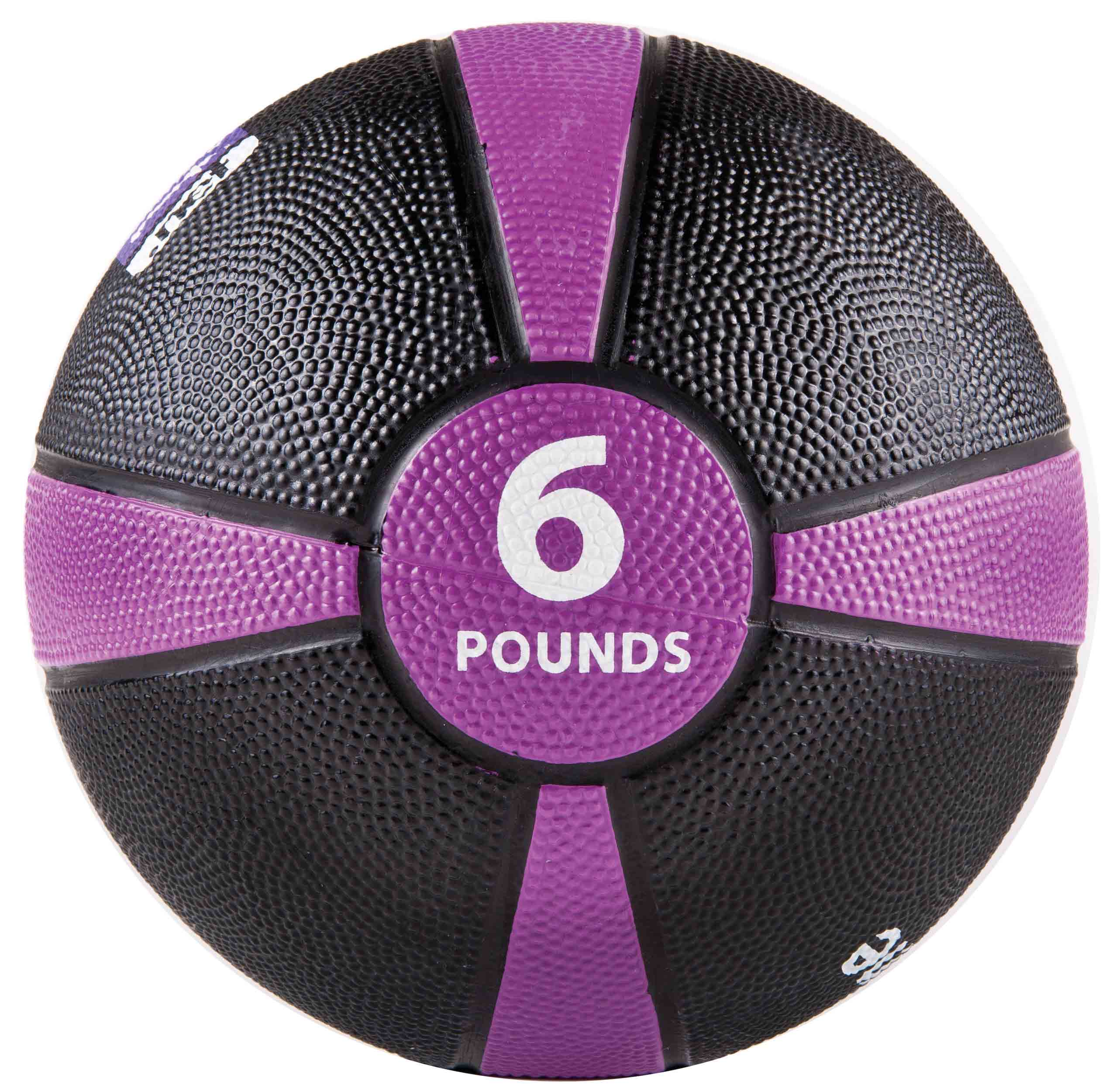 Rubber Medicine Ball with Training Manual - 6lb Purple/Black