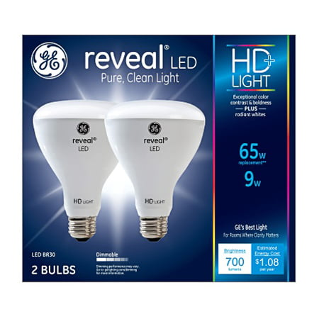 GE LED 11W (65W Equivalent) Reveal High Definition Color, Br30 Indoor Flood Light Bulbs, 13 Year Life, Dimmable, 2pk
