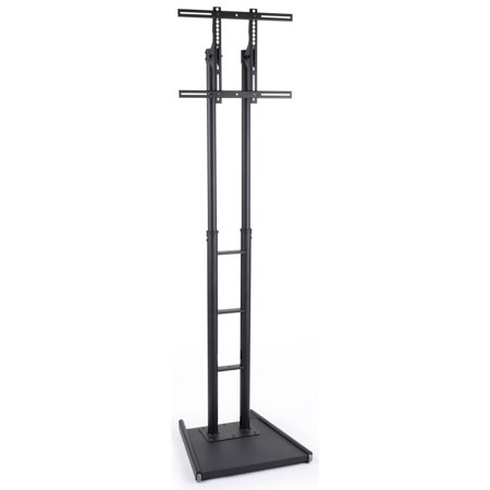 "LCD TV Stands with Double Post Design Fit 32"" to 84""+ Monitors, Weighted Base for Stability, Height Adjustable, Steel (Black) (MBFFACESTBK)"