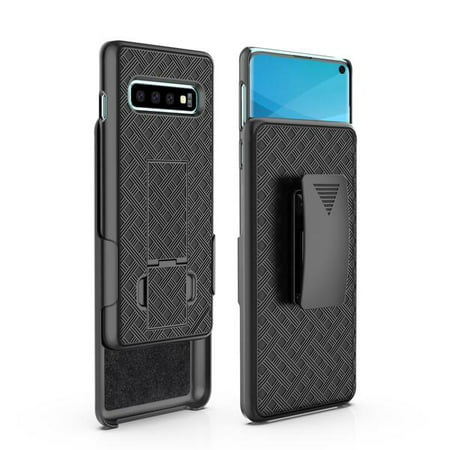 Samsung Galaxy S10+/Plus Case, Swivel Slim Belt Clip Holster Case, Defender Hard Cover for Samsung Galaxy S10+/S10 Plus - Black