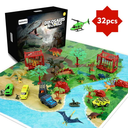 32 Pieces Dinosaur Explorer Island Toy -Dinosaur World Discovery Expedition-Realistic Figures for Pretend Play Assembled Playset Best Toys Gifts for 3 4 5 6 7 Years Old Kids Boys (Best Toys In The World)