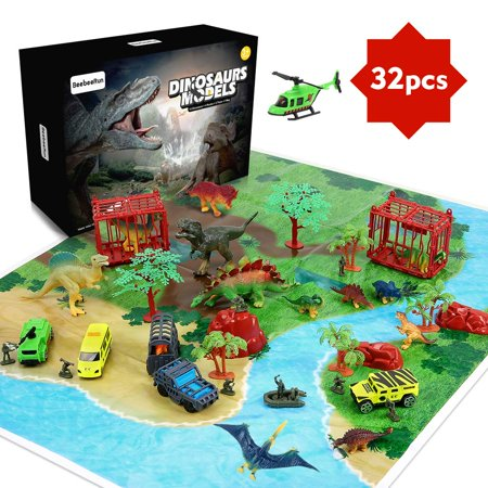32 Pieces Dinosaur Explorer Island Toy -Dinosaur World Discovery Expedition-Realistic Figures for Pretend Play Assembled Playset Best Toys Gifts for 3 4 5 6 7 Years Old Kids Boys