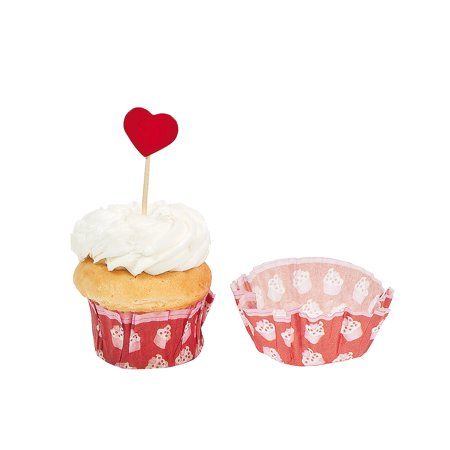 Valentine Baking Cup W/ Pick for Valentine's Day - Party Supplies - Serveware & Barware - Misc Serveware & Barware - Valentine's Day - 100 Pieces (Valentine Supply)