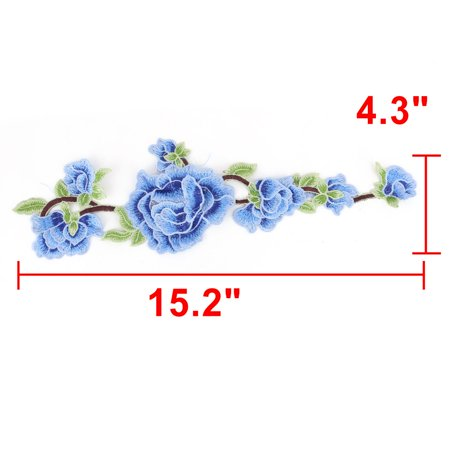 Household Polyester Flower Embroidery DIY Craft Sewing Lace Applique Patch Blue - image 1 of 4