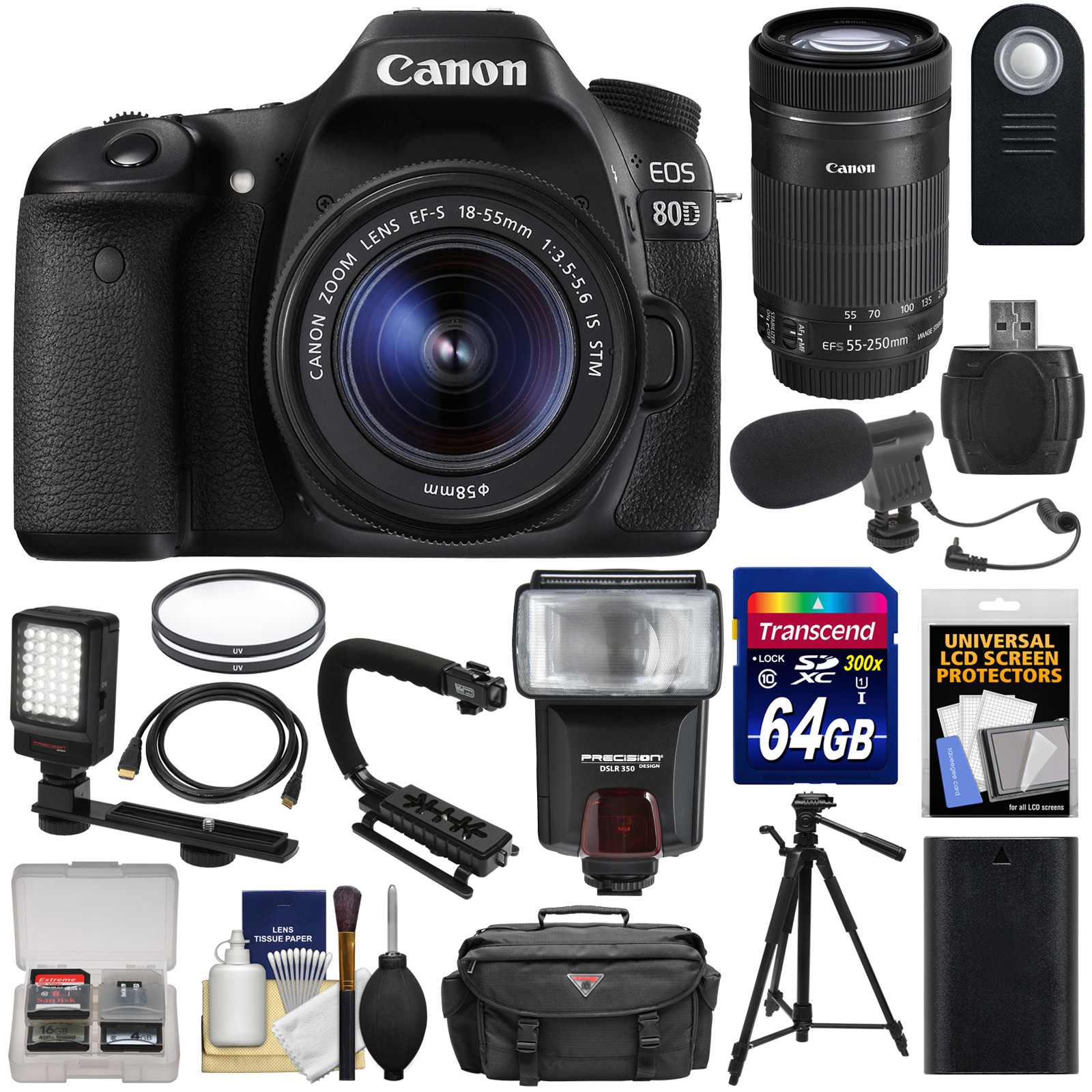 Canon EOS 80D Wi-Fi Digital SLR Camera & 18-55mm IS STM + 55-250mm IS STM Lens + 64GB + Battery + Case +... by Canon