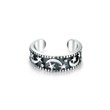 Celestial Moon And Stars Cartilage Band Ear Cuffs Wrap Helix 1 Piece Earring Black Oxidized Sterling