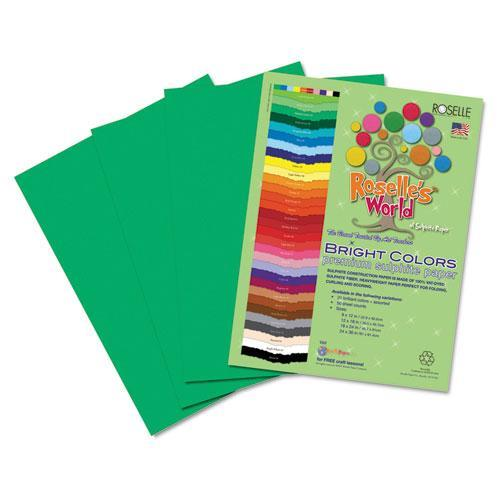 Roselle 74101 Premium Sulphite Construction Paper, 76 lbs., 9 x 12, Holiday Green, 50/Pack