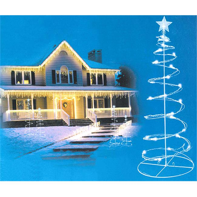 NorthLight 3 & 4 ft. Cool White LED Lighted Outdoor Spiral Christmas Trees Yard Art, Set Of 2