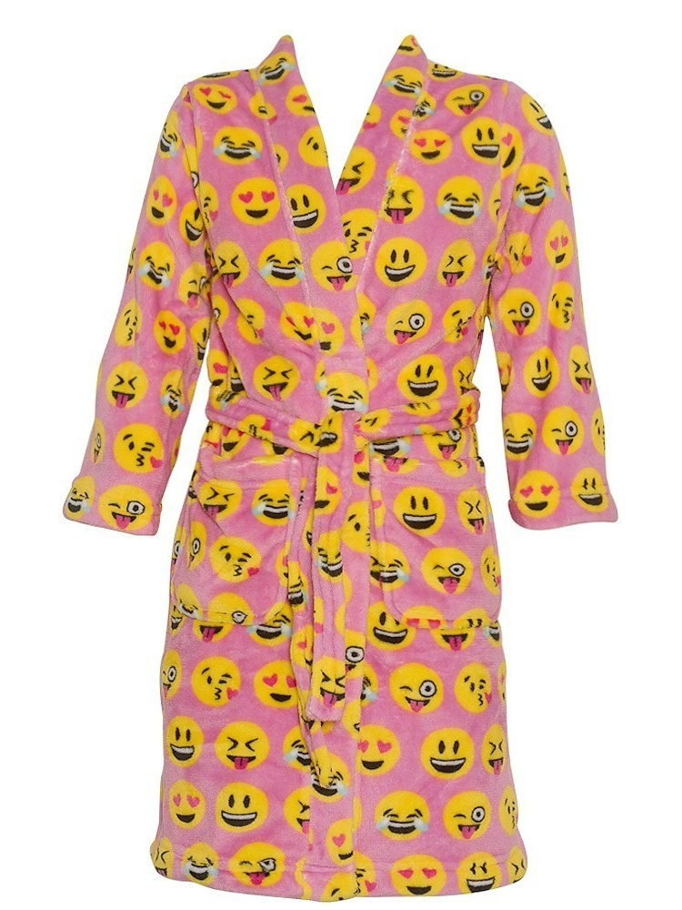 Candy Pink Little Girls Pink Yellow Emoticon Print Soft Bath Robe