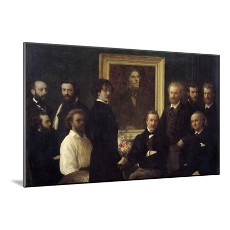 Tribute to Eugene Delacroix. Painting by Henri Fantin Latour Wood Mounted Print Wall Art