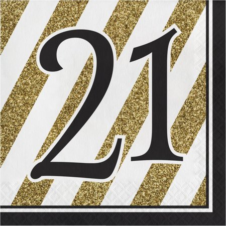 Creative Converting Black And Gold 21st Birthday Napkins, 16 ct - 21st Halloween Birthday