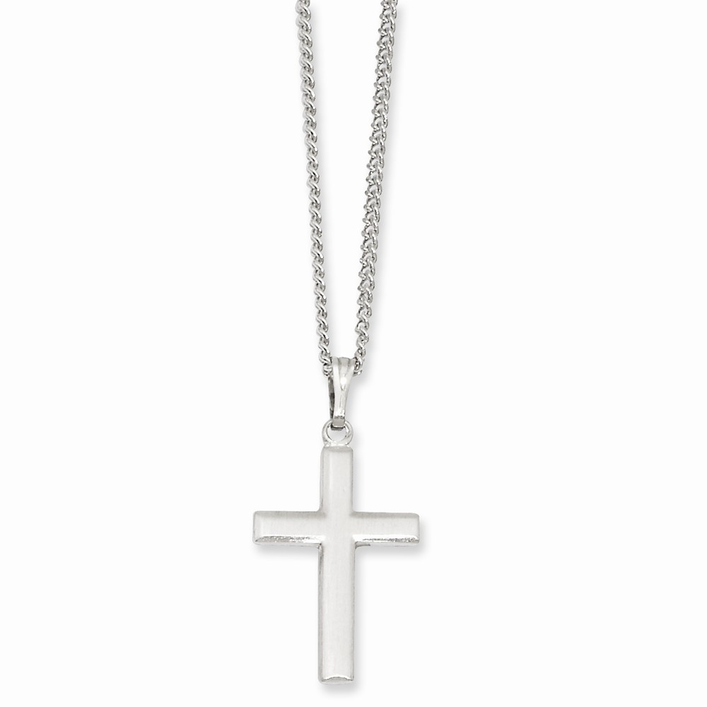 18in Rhodium-plated Medium Cross Necklace. Lovely Leatherrete Gift Box Included