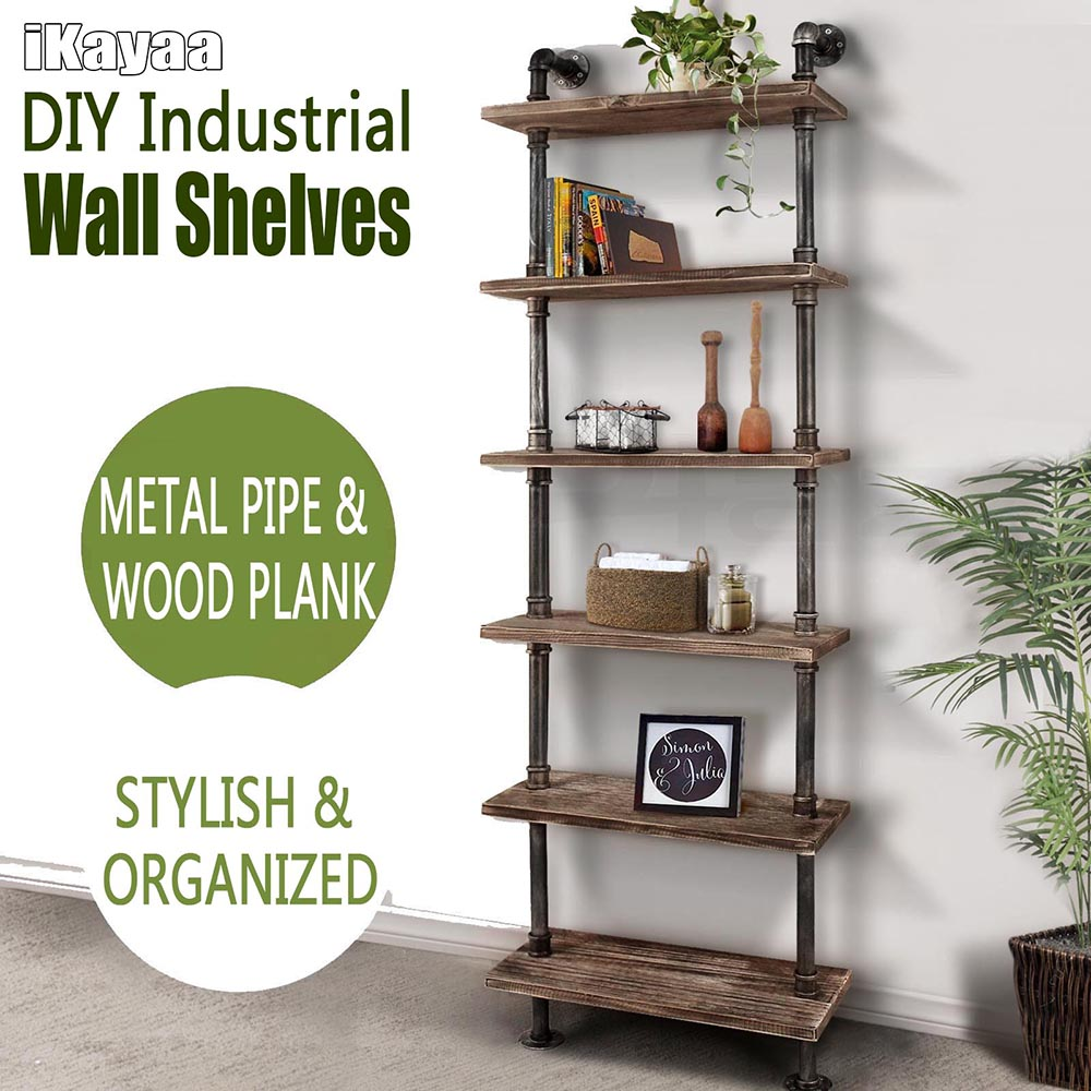 iKayaa 6-Tier Rustic Industrial Iron Pipe Wall Shelves W/ Wood Planks DIY Ladder Standing Book Shelf Storage Rack