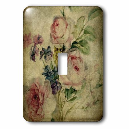 3dRose Vintage Florals Grunge by Angelandspot, Single Toggle Switch - Floral Single Toggle
