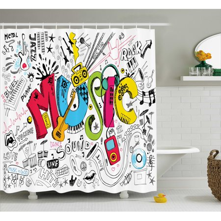 Music Shower Curtain, Pop Art Featured Doodle Style Musical Background with Instruments Sound Art Illustration, Fabric Bathroom Set with Hooks, Multi, by (Doodle Pops)