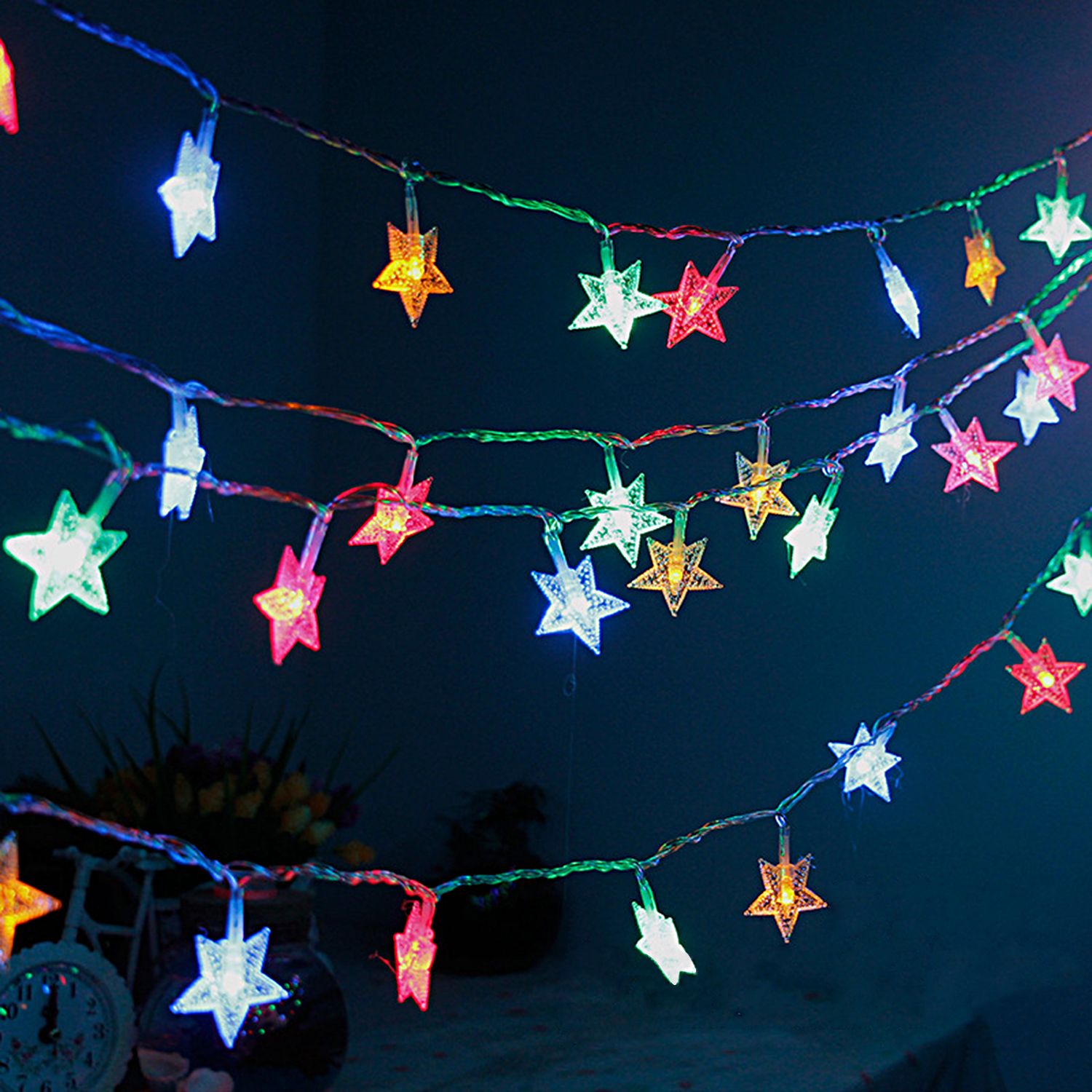 Crystal Clear Star Fairy String Light 4 Color by GPCT