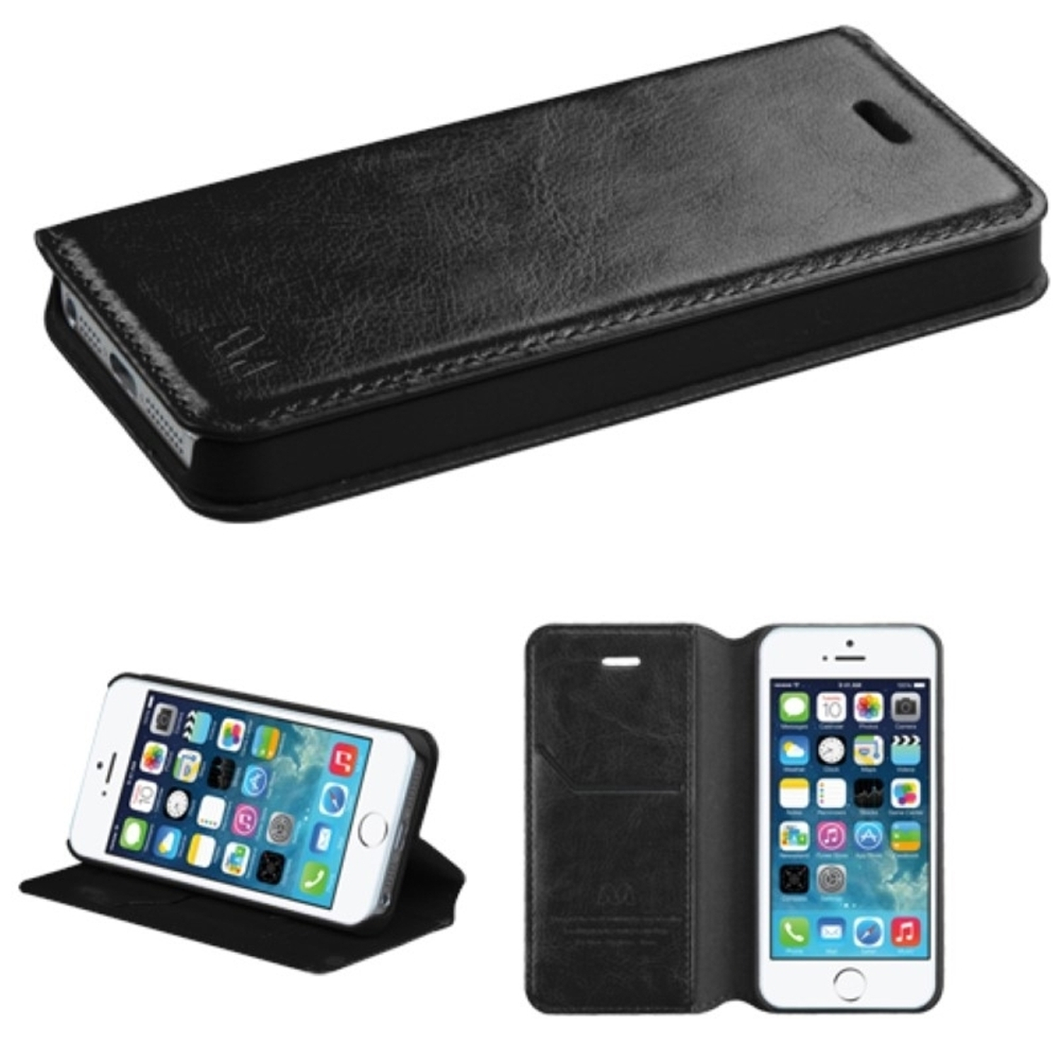 Insten Black MyJacket Wallet Case with Tray 561 For APPLE iPhone SE 5S 5
