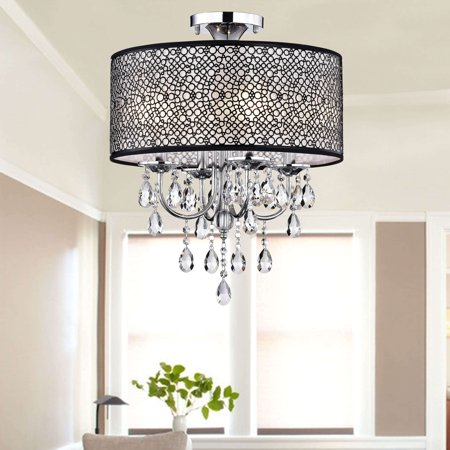 The Lighting Store Bubble Shade Crystal and Chrome Flushmount Chandelier ()