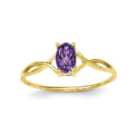 Solid 10k Yellow Gold Polished Simulated Amethyst Simulated Birthstone Ring - Size -