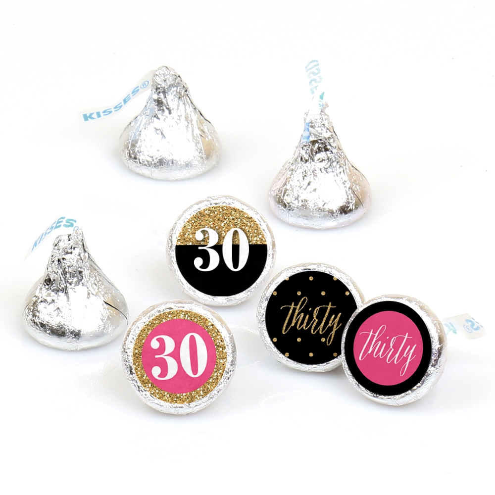 Chic 30th Birthday - Round Candy Sticker Favors - Labels Fit Hershey's Kisses (1 sheet of 108)