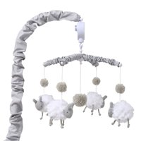 Grey and White Sheep Digital Musical Crib Mobile - Farmhouse Collection by The Peanut Shell