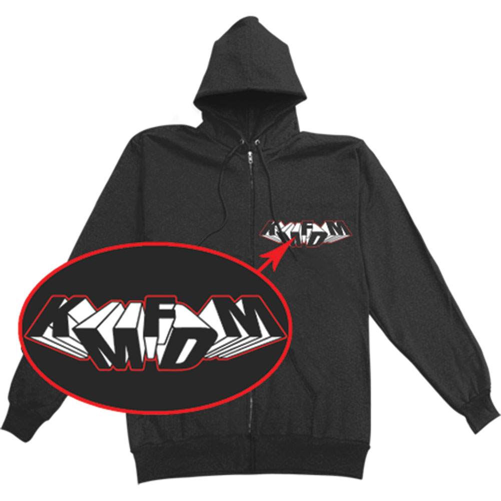 KMFDM Men's  Zippered Hooded Sweatshirt Black