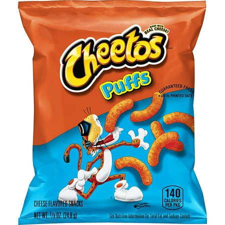 Cheetos Puffs Cheese Flavored Snacks, 0.875 oz Bags, 40 Count - Mini Halloween Cheese Balls