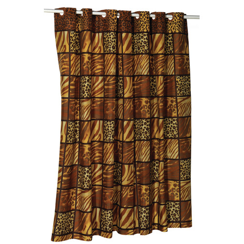 Carnation Home Fashions EZ On Fabric Shower Curtain with Built in Hooks - Wild Encounter