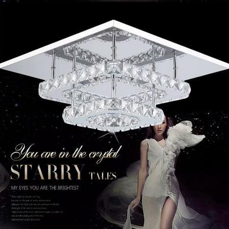 Elegant Square Crystal Chandelier Modern 36W Ceiling Light Lamp Pendant Lighting,Dimmable Light ()