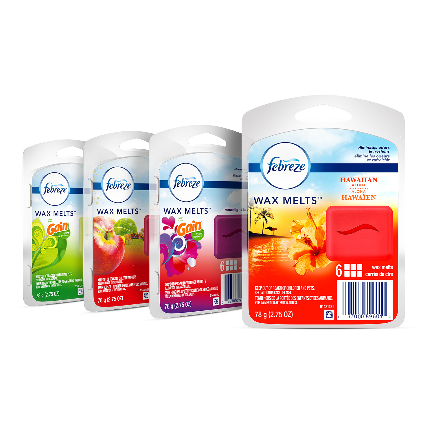 Febreze Wax Melts Air Freshener Variety Pack, Fresh-Pressed Apple, Hawaiian Aloha, Moonlight Breeze and Gain Original Scents (4 pack, 6 count each)
