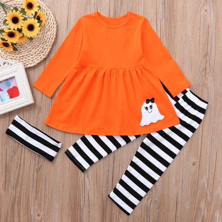 Womail Toddler Baby Girls Ghost Dresses Striped Pants Halloween Costume Outfits Set