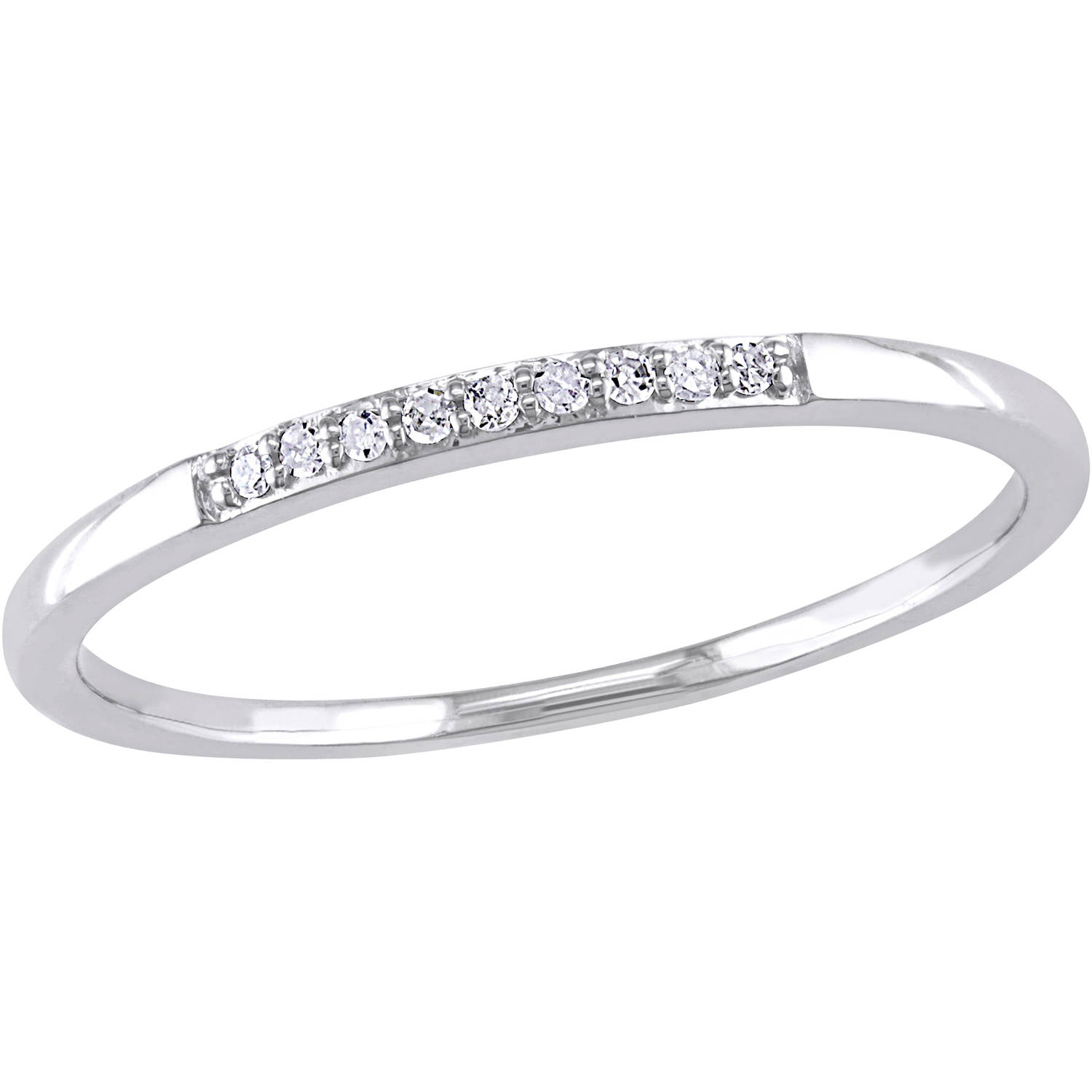 Miabella Diamond-Accent 10kt White Gold Wedding Band