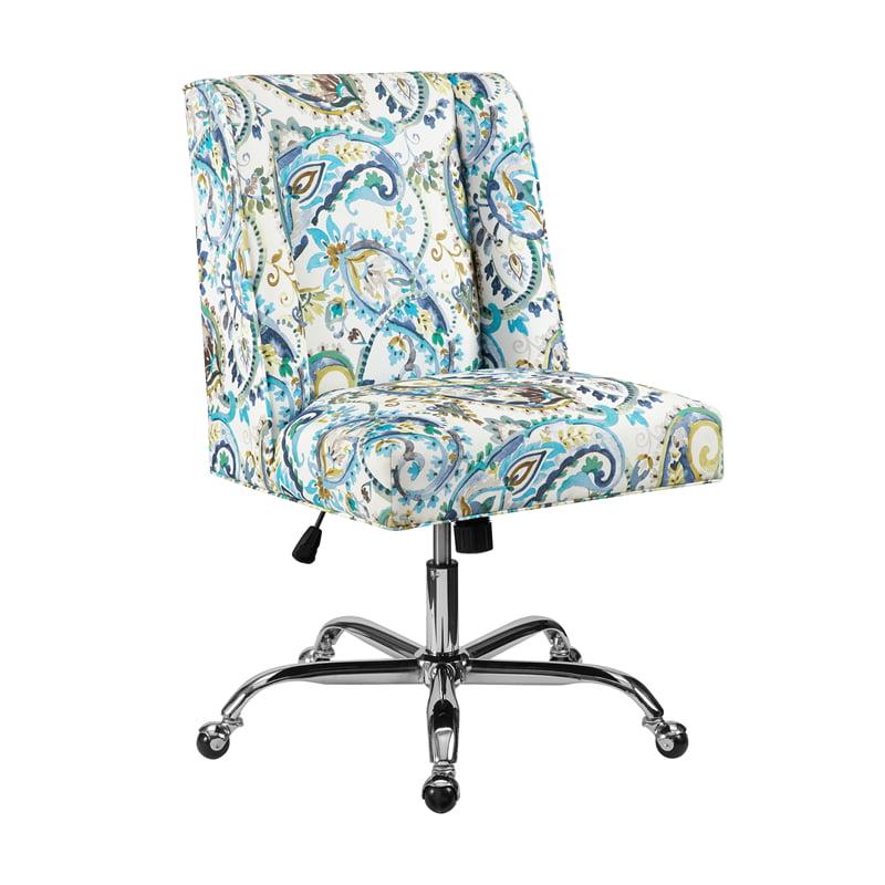 Linon Draper Paisley Upholstered Swivel Office Chair In