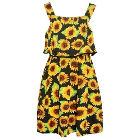 Real Love Little Girls Black Floral Allover Print V-Shaped Back Dress