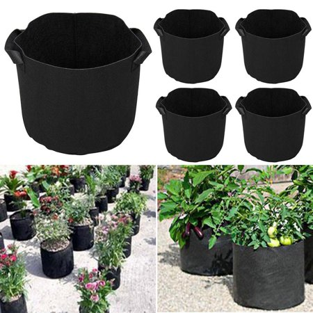 Yaheetech 5pcs 5 Gallon Round Planter Grow Bag Plant Pouch Root Pots Container (Growing Container)