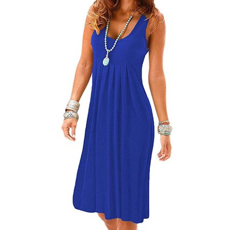 Women's Summer Casual Sleeveless Mini Plain Pleated Tank Vest Dresses T-Shirt
