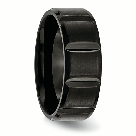Titanium Grooved Black Plated 8mm Brushed Wedding Ring Band Size 8.50 Fashion Jewelry For Women Gifts For Her - image 8 of 10