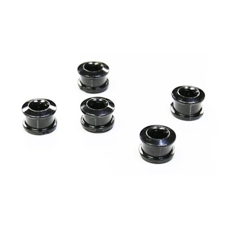The Flying Wheels Single Bicycle Chainring Bolts - Black Steel Set of 5 (Black)
