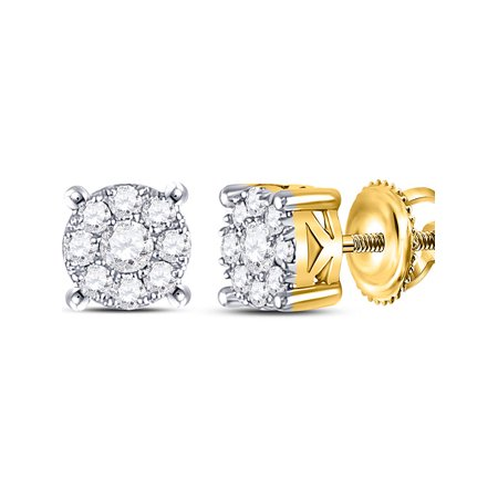 10kt White Gold Womens Round Diamond Cluster Solitaire Stud Earrings 1/2 Cttw - image 1 de 1
